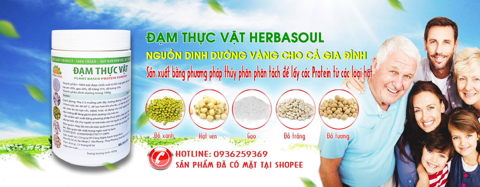 đạm thực vật herbasoul, protein thực vật